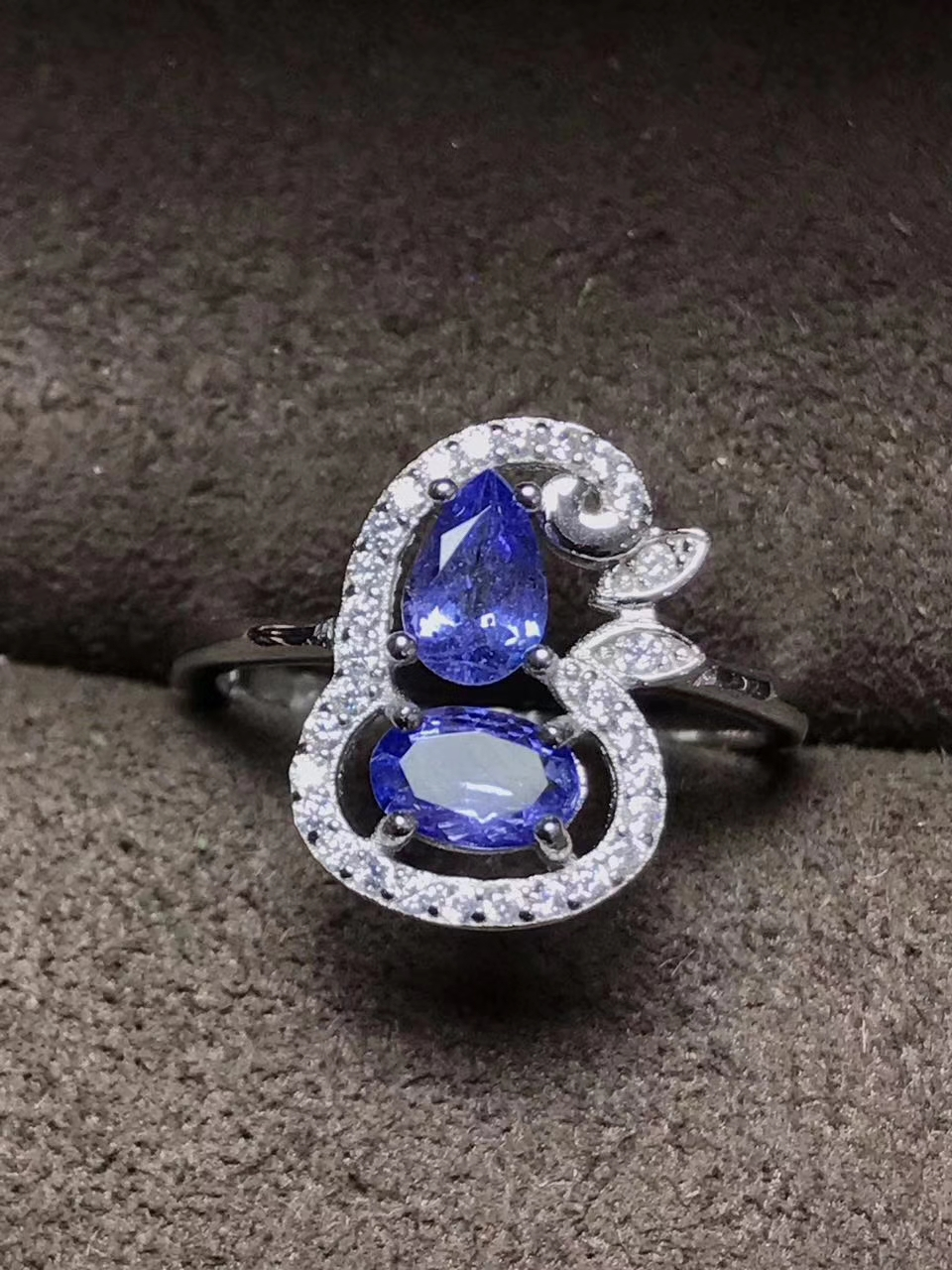 Natural blue tanzanite Ring Natural gemstone ring 925 sterling silver trendy Lucky greedy gourd women's girl gift fine Jewelry tbj romantic small ring with natural good color blue tanzanite gemstone girl ring in 925 sterling silver fine jewelry for women