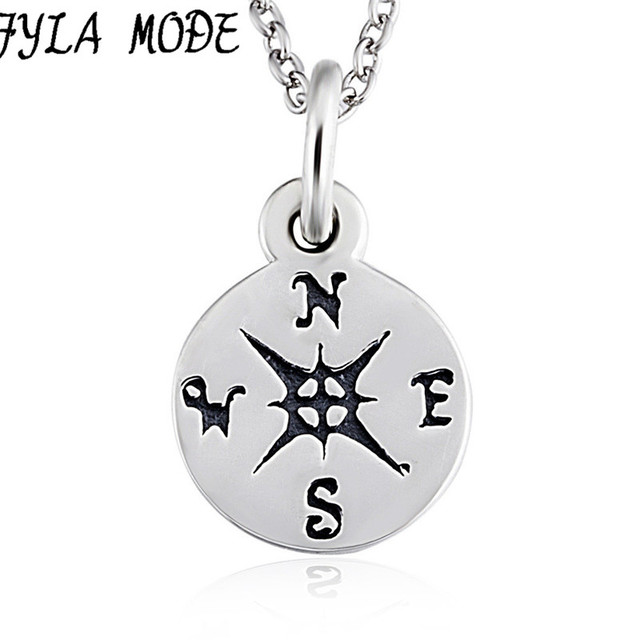 Fyla mode 100 genuine 925 sterling silver compass necklace antique fyla mode 100 genuine 925 sterling silver compass necklace antique silver round pendant necklace direction aloadofball Image collections