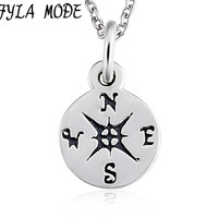 FYLA MODE 100 Genuine 925 Sterling Silver Compass Necklace Antique Silver Round Pendant Necklace Direction Jewelry