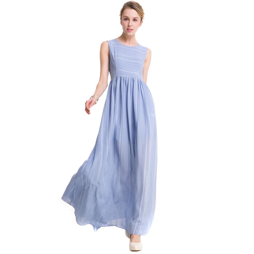 Nouveau design longue robe en mousseline de soie sans manches O cou slim taille grande balançoire rayé tenue décontractée élégant vestidos grande taille