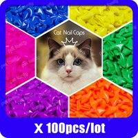 100pcs / lot Cat Nail CapsSoft Nail Protector soft cat pawControl Pets Silicon Nail caps  with free 5Adhesive Glue   5Applicator