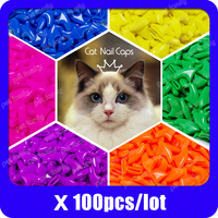 100pcs / lot Cat Nail CapsSoft Nail Protector soft cat pawControl Pets Silicon Nail caps  with free 5Adhesive Glue + 5Applicator(China)