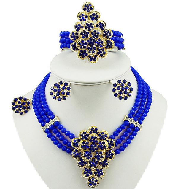 Jóias de ouro africano define cor de pedra de alta qualidade bead set jóias moda colar da jóia do casamento