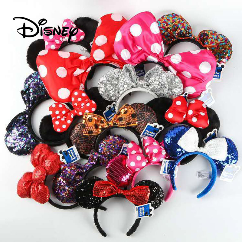 Disney Pretend Play Game Toy Fashion Disneyland Ear Toys Girl Toys Hair Band Sequin Bow-knot Mickey Minnie Ears Birthday Gifts