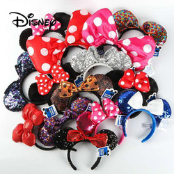Disney fingir jogar jogo brinquedo moda disneyland orelha brinquedos menina cabelo banda de lantejoulas arco-nó mickey minnie orelhas presentes de aniversário