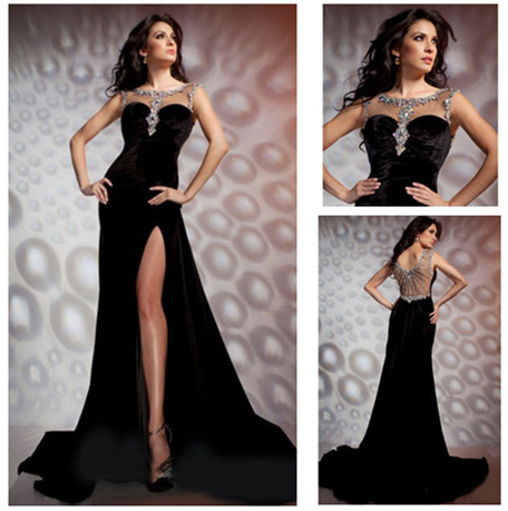 e192c64083 New Arrive Beaded Sheer Neck Split Front Sexy Evening Gown Black Velvet Evening  Dress-in Evening Dresses from Weddings   Events on Aliexpress.com