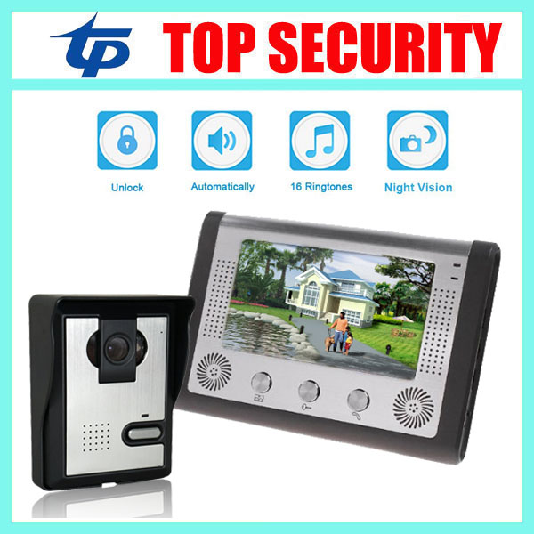 Good quality 7 inch video door phone system door access control system color screen video doot intercom wired door bell intercom 7 inch password id card video door phone home access control system wired video intercome door bell