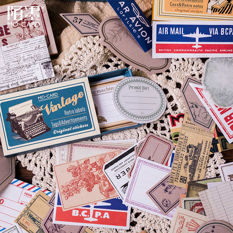 60 Pcs/lot Retro Kotak Korek Api Diary Planner Bullet Journal Dekoratif Ponsel Stiker Kertas Kerajinan Buku Tempel Alat Tulis Stiker