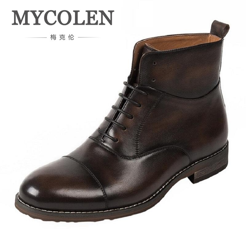 MYCOLEN Brand Casual Winter Boots Vintage Style Brown Boots For Men Ankle Boots High-Top Tactical Boots Military Bota Masculina