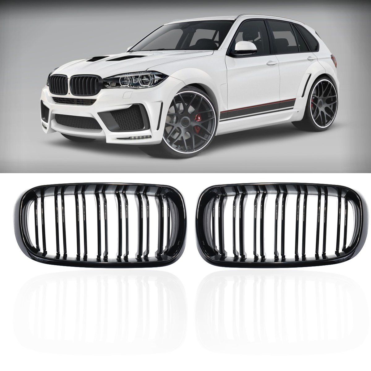 Pair New ABS Replacement Gloss Black Double Slat Front Grill Grille For BMW F15 F16 X5 X6 2014 2015 2016 2018