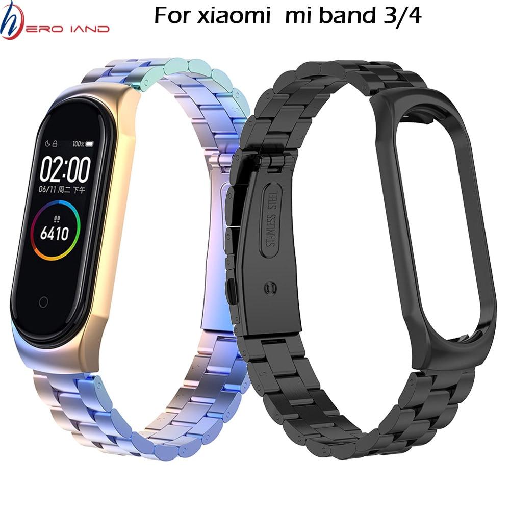 Mi Band 4 3 Metal Wrist Strap For Xiaomi Mi Band 3 Bracelet Screwless Stainless Steel Miband 3 Wristbands Mi Band 4 Strap