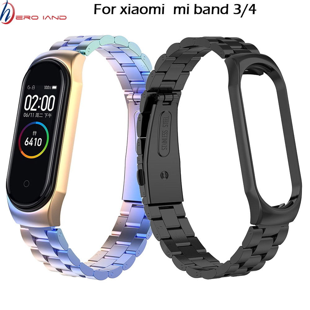 Mi Band 4 3 Metal Wrist Strap For Xiaomi Mi Band 3 Bracelet Screwless Stainless Steel Miband 3 Wristbands Mi Band 4 Strap