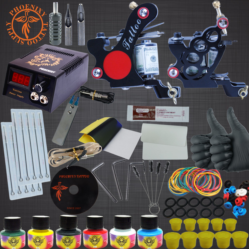 Tattoo Kits Liner Shader Machine Sets 6 Colors Black Tattoo Pigment Sets LCD Power Supply Permanent Makeup Complete Tattoo Kits professional tattoo kits liner and shader machines immortal ink needles sets power supply