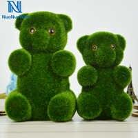 3Pcs-Pack Moss ปกสัตว์เหมือนจริงหมีประดิษฐ์สนามหญ้า Bear Xmas Drop เครื่องประดับตกแต่งบ้านสีเขียวแสดง Craft