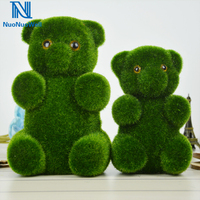 3Pcs Pack Moss Cover Animal Lifelike Bears Artificial Turf Bear Xmas Drop Ornament Home Decor Green Display Craft