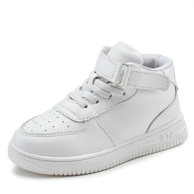 2019 crianças casuais sapatos menina tênis de couro alta ajuda à prova dwaterproof água preto vermelho crianças botas meninas sapatos