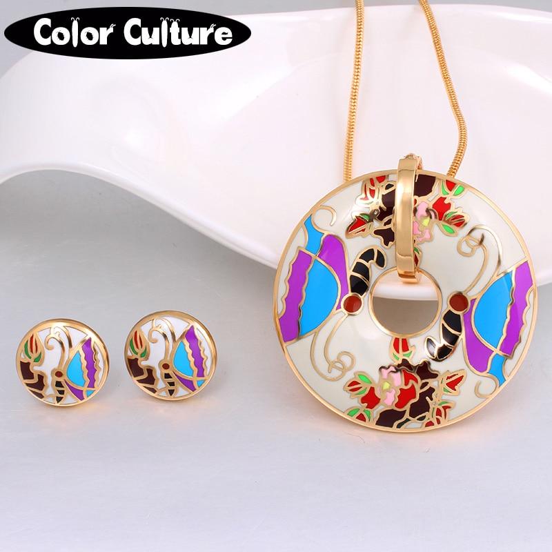New Brand Exclusive Vintage Butterfly Pattern Pendant/Earrings for Women Jewelry Sets Elegant Classic Enamel Set Ethnic Jewelry