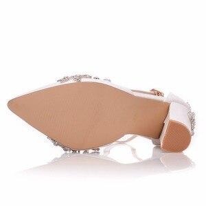 Image 5 - Crystal Queen White 11CM Rhinestone Sandals Pointed Shoes Women Sweet Luxury Platform Wedges Shoes Wedding heels High Heels