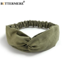 BUTTERMERE Suede Hair Bands For Women Army Green Headwear Vintage Hair Accessories Elastic Cross Knot Soft Female Hairband