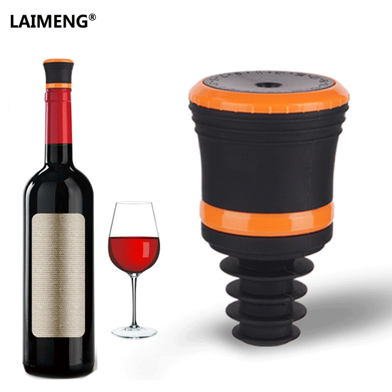 LAIMENG Silicone Keeping Wine Freshness Longer Wine Bottle Stopper Working With Any Vacuum Sealer S158 push type vacuum sealed bottle wine stopper black