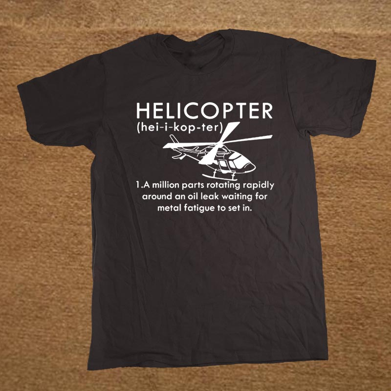 Summer Funny Print Helicopter T Shirt Men Pilot Gift Brand Clothing Short Sleeve Casual Tops Tee