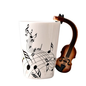 Hoomall 300ML Musical Note Ceramic Mug With Instrument Handle Personality Tea Coffe Mug Table Water Bottle Cup Kitchen Tools gift for boyfriend on anniversary