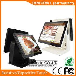 Хайна Touch 15 дюймов Сенсорный экран Ресторан POS Системы двойной Экран POS машина