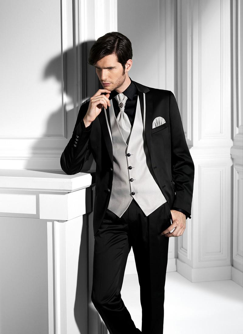 Slim Fits Black Groom Tuxedos Groomsman Men's Wedding Prom Suits ...