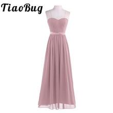Dusty Rose vestidos de dama de honor elegantes, plisados, de cintura alta, bonitos, sexys, sin tirantes, largos, novedad de 2020, vestido de fiesta de boda