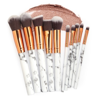 10Pcs/Set Makeup Brushes Professional Marbling Handle Powder Foundation Eyeshadow Lip Make Up Brushes Set Beauty Tools