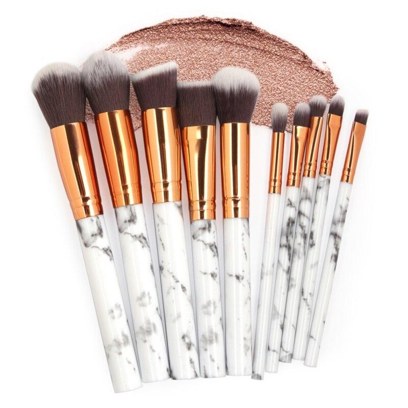 10Pcs/Set Makeup Brushes Professional Marbling Handle Powder Foundation Eyeshadow Lip Make Up Brushes Set Beauty Tools