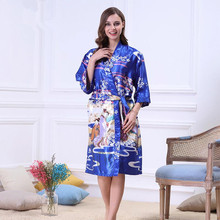 Plus Size Silk Female Home Brand Bathrobe Sleepshirts Dressing Gown Sleepwear