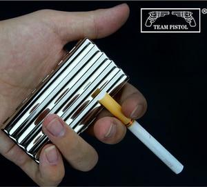 New 1pcs corrugated Design Silver Copper Cigarette Box solidly made Metal Cigarette Case Holder For 10 /20 Cigarettes Box Gift(China)