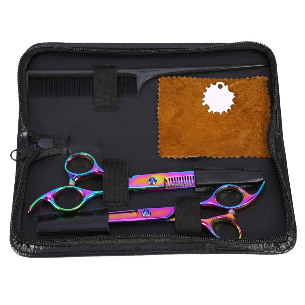 Pro Barber Hairdressing Scissors Thinning Styling Tools, Hair Cutting & Thinning Scissors Shears Hairdressing Set + Comb + Case
