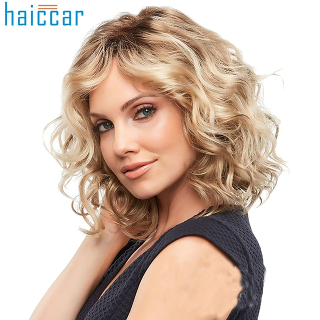 Us 6 62 44 Off New Gold Wave Wig White Women Synthetic Full Wigs Short Curly Hairstyle Blonde Heat Resistant Wave Hair Wigsdec5 In Hair Rollers From