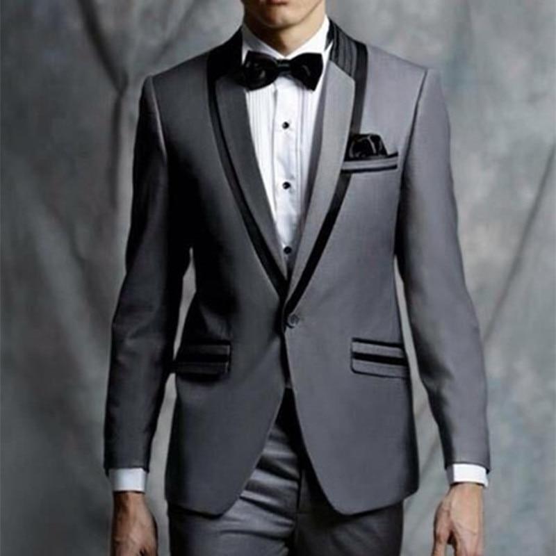 2017 Latest Coat Pant Designs Grey Tuxedo Jacket Prom Men Suit Slim Fit Skinny 2 Piece Custom Suits Groom Blazer Terno Masuclino