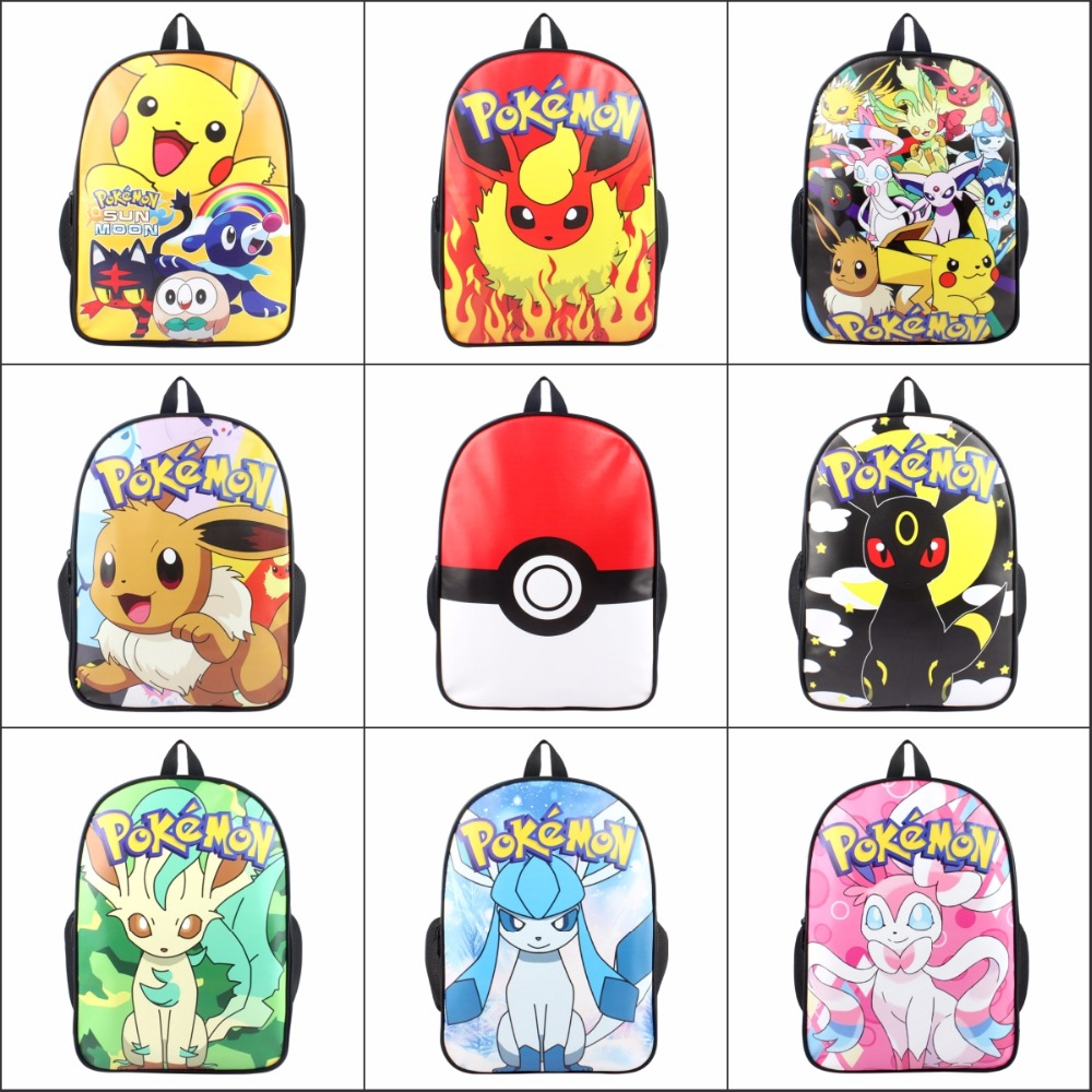 Cartoon anime Pocket Monster Pokemon pikachu EEVEE poke ball backpack School bag Canvas Travel Bag package Shoulder Bag 14 style climate 2017 pocket monster go game pikachu flat snapback caps adult men women animation cartoon cute comic orange eevee hat cap