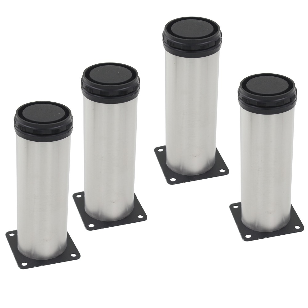 4pcs 350mm Length Furniture Legs Adjustable 15mm Silver Tone Stainless  Steel Table Bed Sofa Leveling Foot