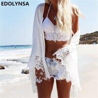 2018 החוף בקיץ מזדמן נשים Boho קרדיגן קימונו לבן תחרת שיפון Loose החולצה מודפסת חולצה בתוספת גודל צמרות # וחוף N19