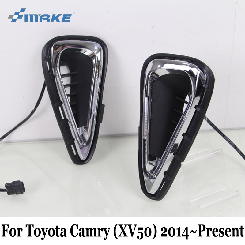 SMRKE DRL For Toyota Camry (XV50) 2014~Present / 12V Car Daytime Running Light / Car Styling Waterproof Auto Day Driving Lamp smrke drl for mitsubishi asx 2016 present car daytime running lights car styling day driving lamp auto fog lamp frame