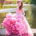 2016 люкс пром девушки бальное платье облако с длинным розовый конкурс красоты платья для детей многоуровневое кристалл бисера девушок цветка платье