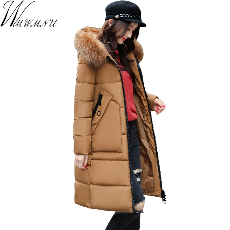 Wmwmnu 2017 Simple Winter Fashion Women's fur collar Jacket parkas Warm Thicken Cotton Padded Female Jacket Coat with pocket 080 free shiping fried ice cream machine 75 35cm big pan with 5 buckets fried ice machine r22 ice pan machine ice cream machine