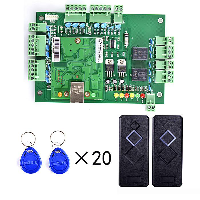 2 Pieces Card Reader+20pcs RFID Card+Free English Software+TCPIP Two Door Access Control System outdoor mf 13 56mhz weigand 26 door access control rfid card reader with two led lights