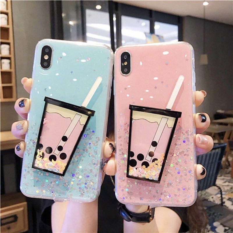Fashion Jelly Color Glitter Phone Case For iPhone X XR XS Max 3D Milk Tea Summer Pattern iPhone6 6S 7 8 Plus Cover Etui