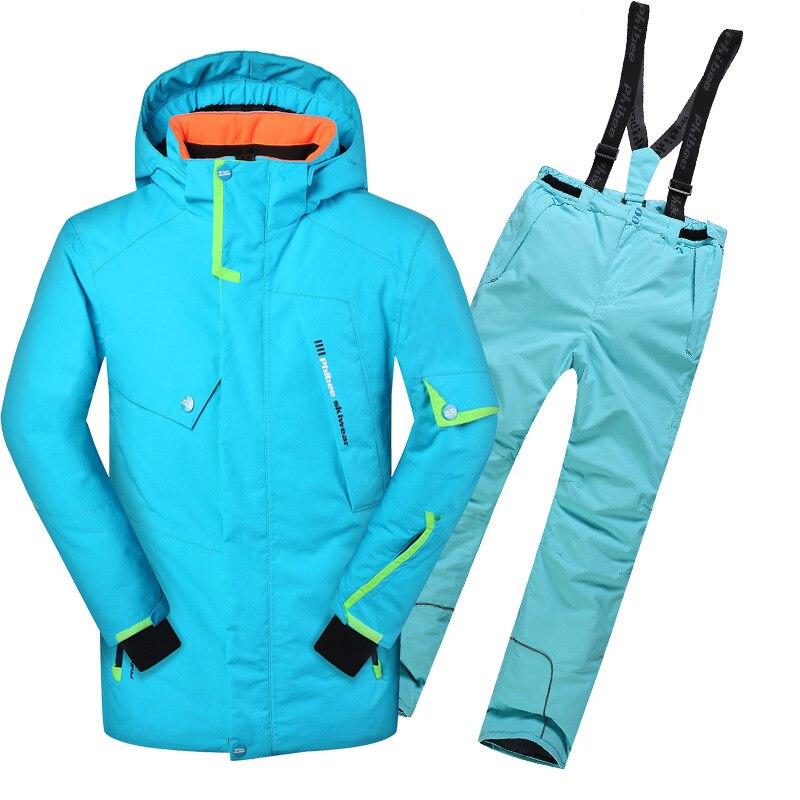 Детский зимний хлопковый стеганый непромокаемый лыжный костюм для катания на сноуборде для мальчиков, лыжная куртка и штаны, зимний компле