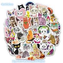 50PCS Cat Stickers Cartoon Animal Scrapbooking for Computer Skateboards Refrigerator Suitcase Vinyl Waterproof