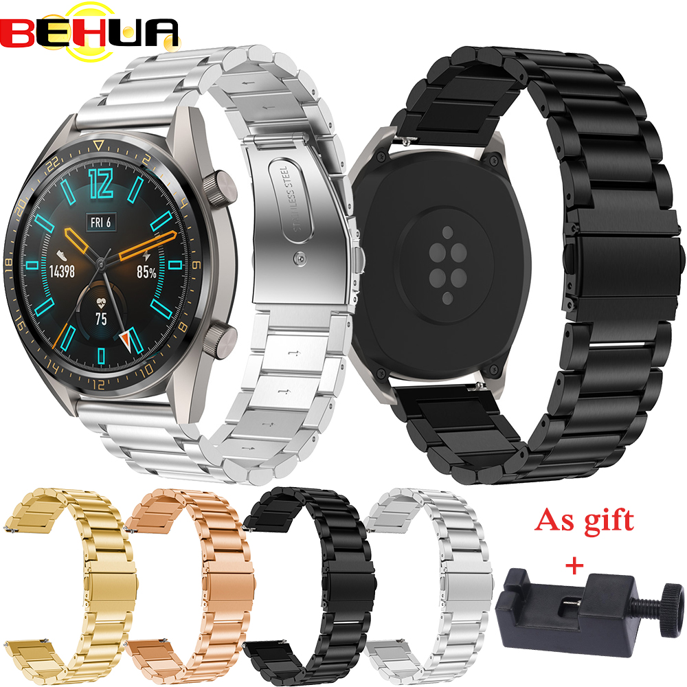 Original strap For <font><b>Huawei</b></font> <font><b>watch</b></font> <font><b>GT</b></font> <font><b>watch</b></font> band For Xiaomi Huami Amazfit Stratos <font><b>2</b></font> 2S bracelet 22mm Stainless steel Belt Wristband image