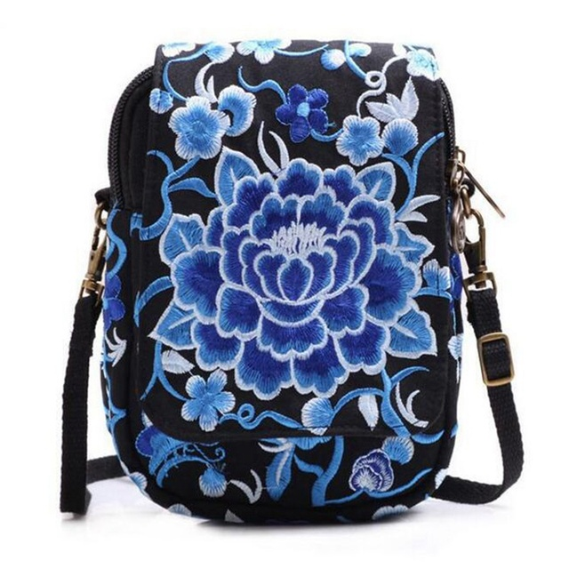 Ethnic Embroidery Bag Vintage National Embroidered Canvas Mobile Phone Small Coins Purse Bags Shoulder Sling Bags 5