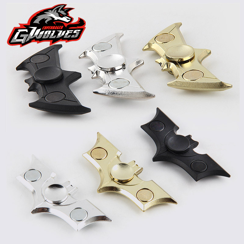 Hot Sale 2 boxes Fast Bearing Black hand Spinner metalen Batman Finger Tri-Spinner EDC Relieve stress ADHD Fidget toy tri blade hand fidget spinner focus toy