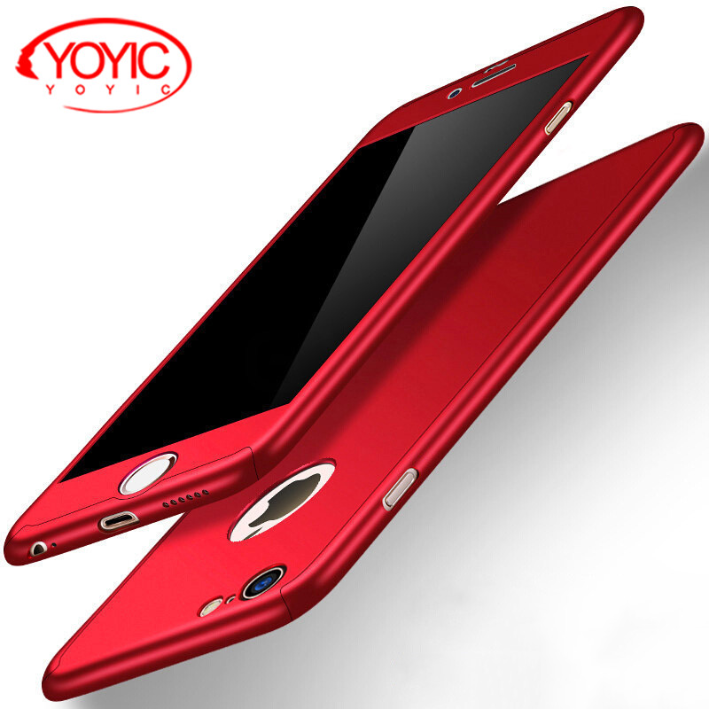 YOYIC 360 Degree Full Cover Case For iPhone 6 6s 7 8 Plus X 5  Case For Apple iphone 8 7  6 Plus 5 5s SE Protection Case + Glass